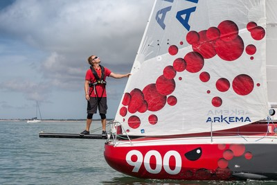 Quentin Vlamynck on board the Mini 6.50 Arkema during its first outing at sea in June 2016 (PRNewsfoto/Arkema)