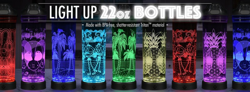 Sip in style! With 2 sizes and 20 fun designs to choose from, POP Lights water bottles by YEW Stuff are the coolest way to stay hydrated! When not being used, the bottle with LED base doubles as an awesome nightlight.