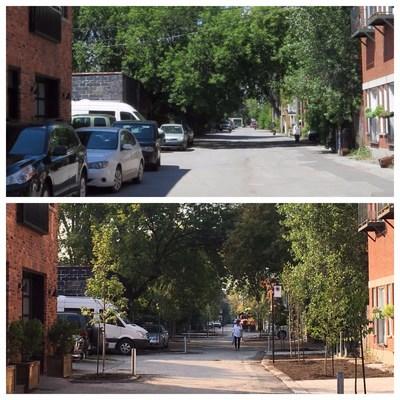 La rue Poitevin avant-après. Les plantations de fleurs et d'arbustes auront lieu en fin de semaine. (Groupe CNW/Ville de Montréal - Arrondissement du Plateau-Mont-Royal)
