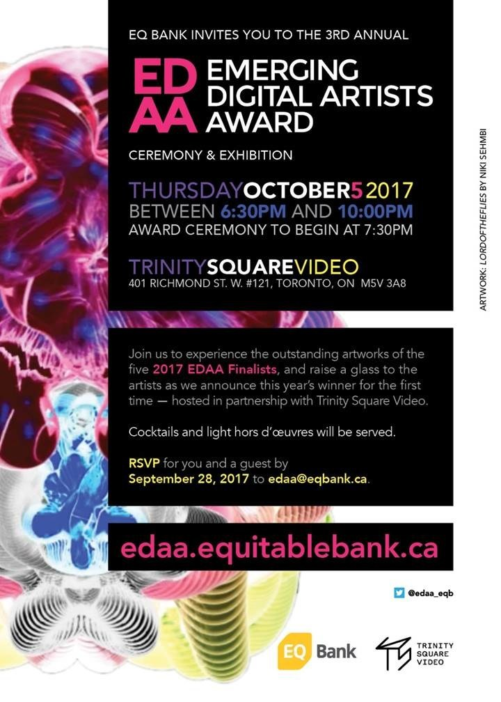 Please join us on October 5 for the 2017 Emerging Digital Artists Awards finalist preview and announcement of a winner! (CNW Group/EQ Bank's Emerging Digital Artists Award)