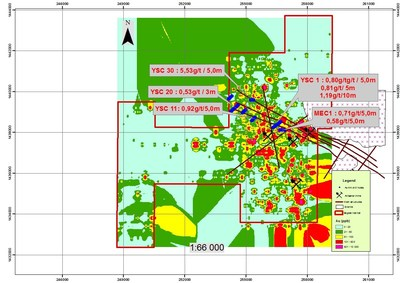 Figure 2: Segala West permit soil anomaly with Axmin previous drilling with area to consider for detailed mapping (CNW Group/Desert Gold Ventures Inc.)