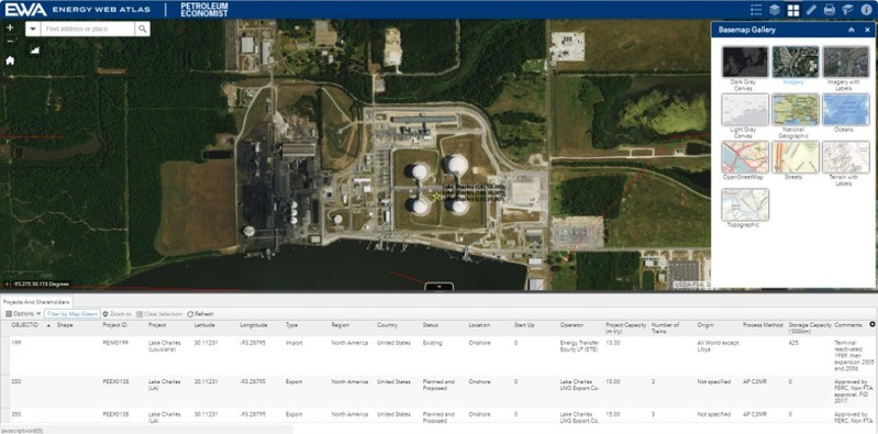 The Energy Web Atlas can display data against a variety of base maps, including satellite imagery.