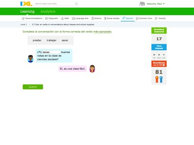 IXL challenges students to apply their knowledge to communication scenarios they'll encounter in the real world.