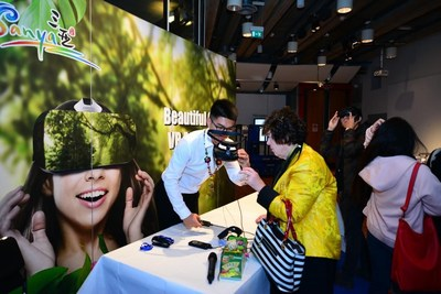 Attendees in Stockholm, Sweden experiencing VR glasses