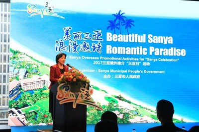 Fu Junli, Honorary President of Sanya People's Association for Friendship with Foreign Countries, delivering a speech at The Sanya Celebration roadshow