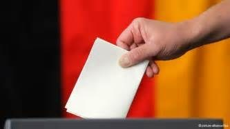 Ballot paper with German flag backdrop