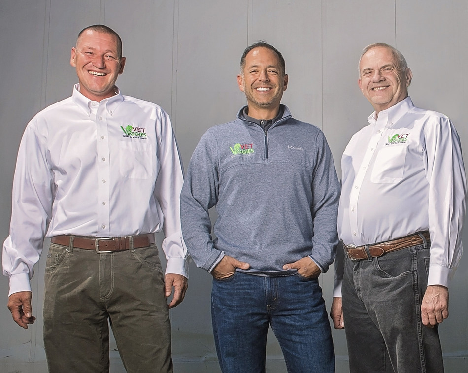 Darryl Hill, Alan Altom and Jerry Martin, founders of Vet Veggies, one of the winning businesses in the 2017 Bob Evans Farms Our Farm Salutes Heroes to CEOs grant contest.
