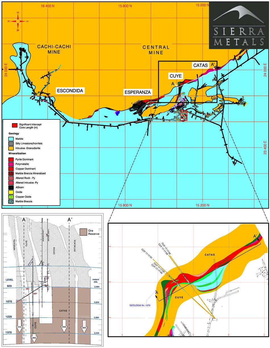 Figure 1 - Plan View –  Yauricocha Mine (Cuye Zone- Catas Zone) (CNW Group/Sierra Metals Inc.)