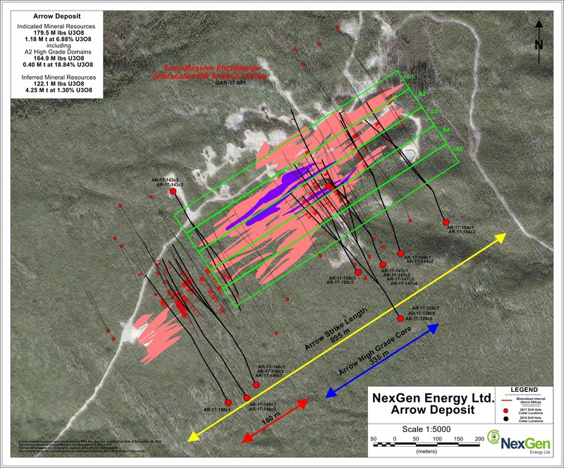 Figure 4: Arrow Deposit Drill Hole Locations (CNW Group/NexGen Energy Ltd.)