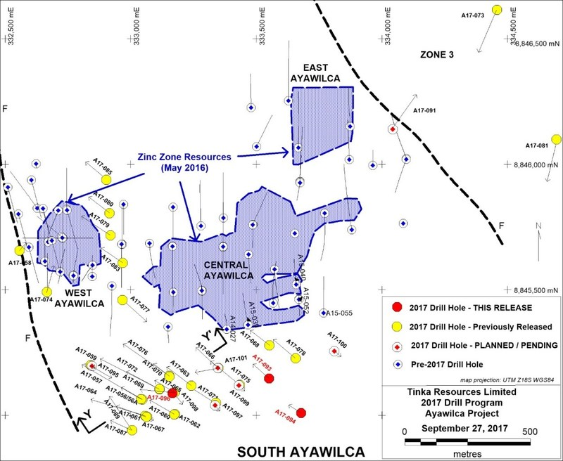 Figure 1. Ayawilca 2017 drill hole location map with 2016 Zinc Mineral Resource boundaries (CNW Group/Tinka Resources Limited)