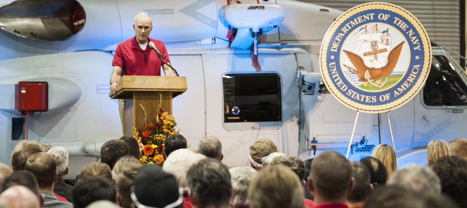 The Secretary of the Navy, the Honorable Richard V. Spencer, addresses more than 400 Lockheed Martin employees during a visit to the Owego, New York, site.