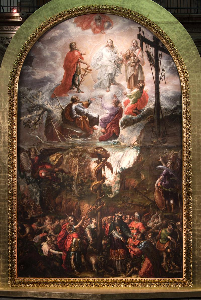 Cristóbal de Villalpando (ca. 1649–1714). Moses and the Brazen Serpent and the Transfiguration of Jesus (detail), 1683 (PRNewsfoto/Mexican Cultural Institute NY)