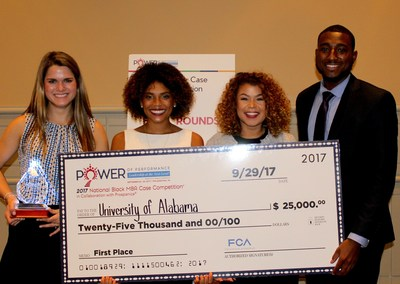 Students from the University of Alabama took home the first place trophy as champions on the 2017 National Graduate Student Case Competition and $25,000 in scholarships. The winning team members were (l to r) Liz Alley, Bryonna Rivera Burrows, Jessika Banks and Myles Ward.