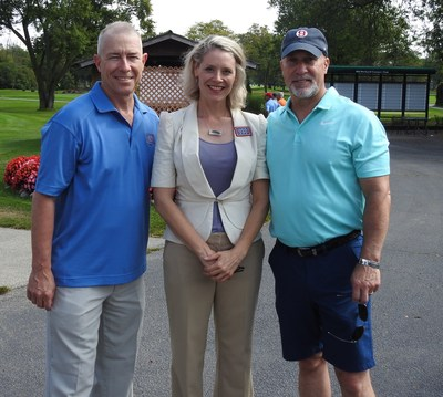 Combined Insurance hosted its annual golf outing on September 19 at Old Orchard Country Club in Mount Prospect, Ill., raising $19,500 for USO of Illinois. Pictured from left to right are Bob Wiedower, Combined Insurance's VP of Sales Development and Military Programs; Alison Ruble, President and CEO of USO of Illinois; and Brad Bennett, President of Combined Insurance