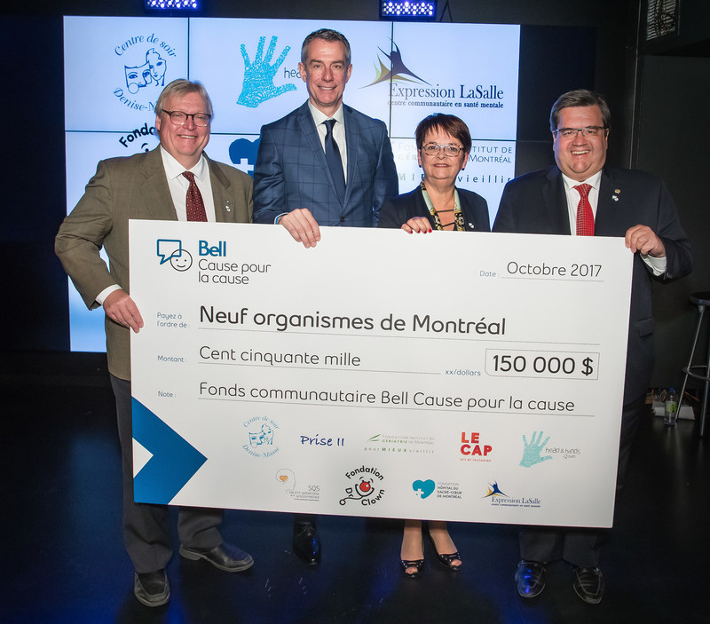 From left to right: Gaétan Barrette, Minister of Health and Social Services, Martin Spalding, Vice President and General Manager, Local Radio and Television, Québec, Bell Media, Francine Dubé, Executive Director of the Société québécoise de la schizophrénie et des psychoses apparentées (SQS) and spokesperson for the nine recipient organizations, Denis Coderre, Mayor of Montreal (CNW Group/Bell Canada)