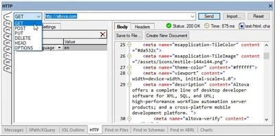 An HTTP Testing Window and 3-Way Diff Headline Altova's