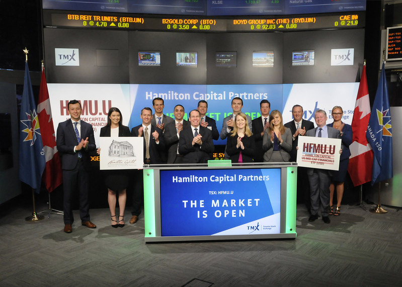 Rob Wessel, Managing Partner, Hamilton Capital Partners, joined Rob Peterman, Vice-President, Global Business Development, TMX Group to open the market to launch Hamilton Capital U.S. Mid-Cap Financials ETF (USD) (HFMU.U). Hamilton Capital is an investment manager headquartered in Toronto, specializing in equity investments in financial services. HFMU.U commenced trading on Toronto Stock Exchange on September 5, 2017. (CNW Group/TMX Group Limited)
