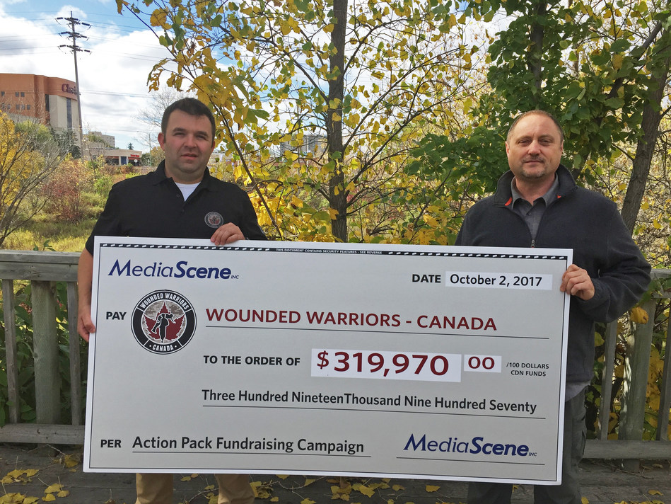 Wounded Warriors Canada Partnerships Director David Macdonald (Left) and MediaScene Director Tod Dube (Right). (CNW Group/Wounded Warriors Canada)