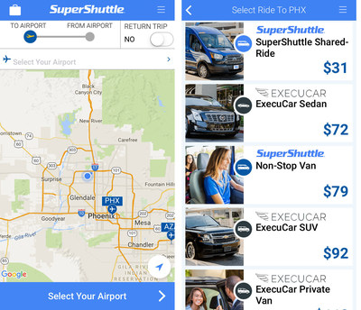 SuperShuttle app is easy to use and earns passengers double airline miles and points all Summer long. See the SuperShuttle Summer Sale for more information. (PRNewsFoto/SuperShuttle)