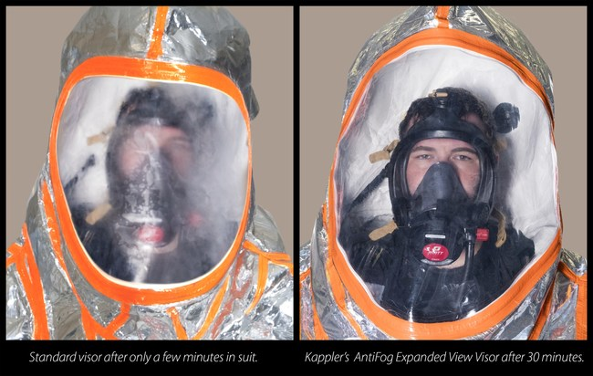 Unretouched images show standard visor on left after only a few minutes in suit, while right image shows Kappler's AntiFog Expanded View Visor after 30 minutes of wear.