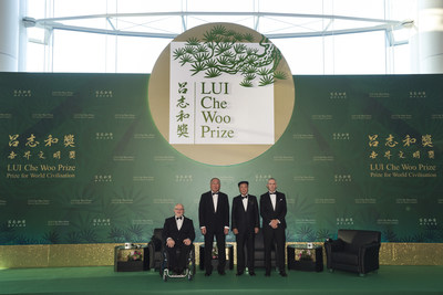 LUI Che Woo Prize - Prize for World Civilisation held its second Prize Presentation Ceremony on 3 October 2017. From left: Sir Philip Craven, President of International Paralympic Committee (IPC), representing IPC, Positive Energy Prize Laureate; Mr. Xie Zhenhua, Sustainability Prize Laureate; Dr. Lui Che Woo, Prize Founder; Mr. Chris Jochnick, President and CEO of Landesa, representing Landesa, Welfare Betterment Prize Laureate.