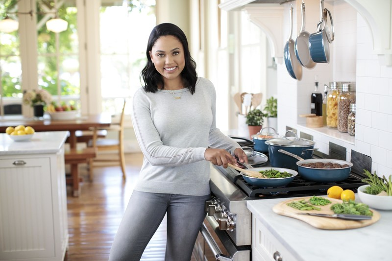 Ayesha Curry Showcases her new Home Collection Porcelain Enamel Cookware in Twilight Teal.