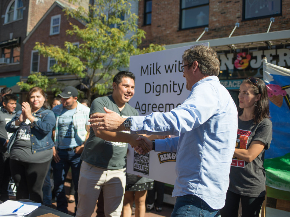 Ben & Jerry's and Migrant Justice sign Milk with Dignity Agreement on  October 3, 2017 in Burlington, VT