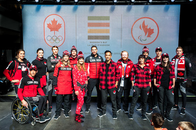 Canada's iconic retailer, Hudson's Bay, unveiled the Team Canada collection that will outfit Canadian athletes at the upcoming Olympic and Paralympic Winter Games PyeongChang 2018. Participating athletes included Marie-Michèle Gagnon, Brendan Green, Marielle Thompson, Taylor Henrich, Gilmore Junio, Kelsey Serwa, Max Parrot, John Morris, Rachel Homan, Dustin Cook, Chris Klebl, John Leslie, Brian McKeever, Graham Nishikawa, and Michelle Salt. (Photo: Cole Garside / Hudson's Bay) (CNW Group/Hudson's Bay)