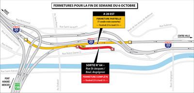Projet Turcot - Fermetures dans le secteur des échangeurs Turcot et Saint-Pierre durant la fin de semaine du 6 octobre 2017 (Groupe CNW/Ministère des Transports, de la Mobilité durable et de l'Électrification des transports)