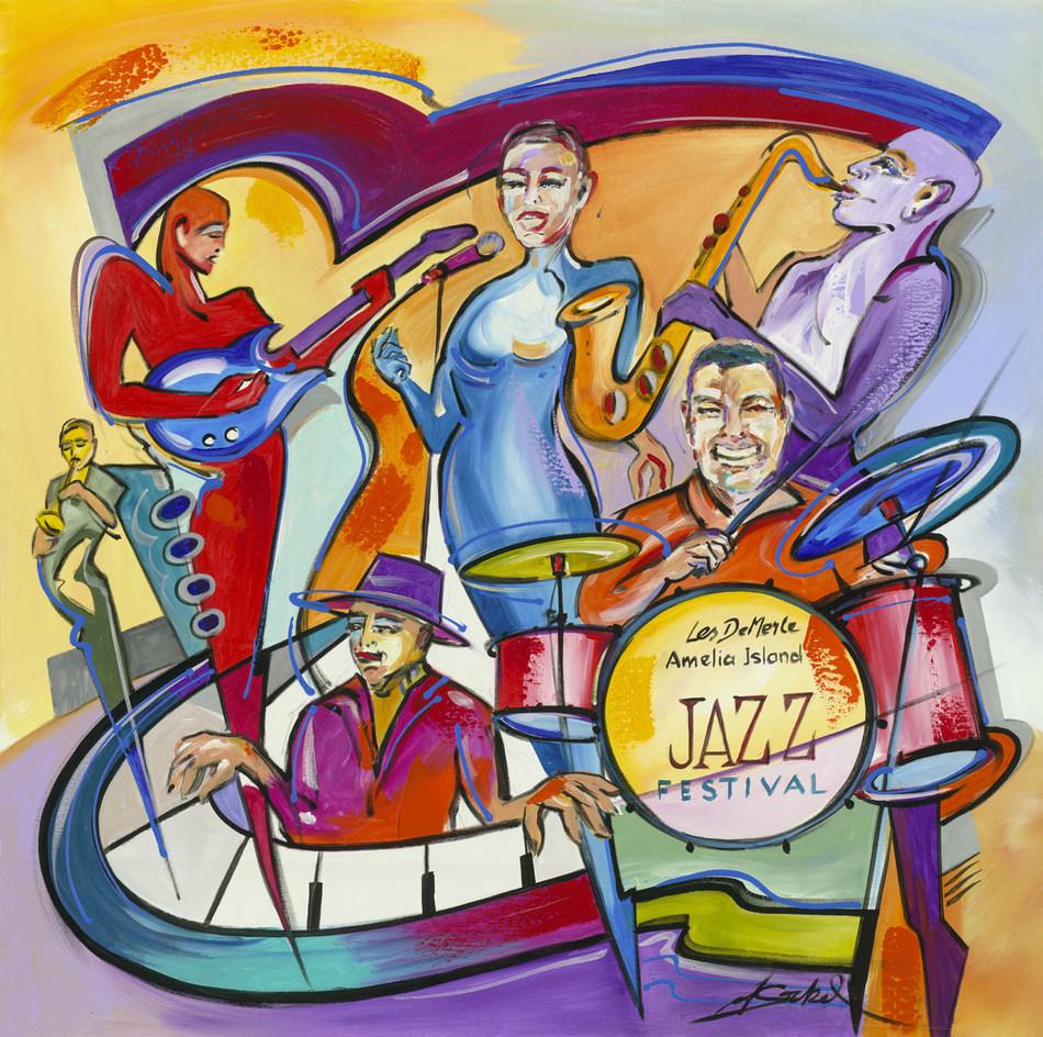 """Amelia Island, Jazz Festival"" (2017), Alfred Gockel. Image courtesy of Park West Gallery."