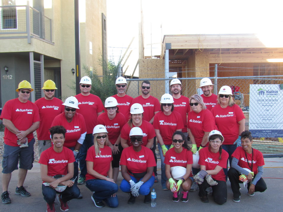State Farm employees in Phoenix kick off celebrating the company's 10-year anniversary of partnering with Habitat for Humanity.  During the month of October, employees will volunteer in Phoenix, Dallas and Atlanta.
