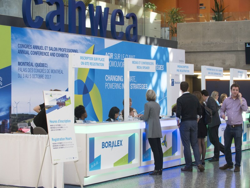 CanWEA 2017, the Canadian Wind Energy Association's annual conference and exhibition attracted more than 1,200 wind energy professionals from Canada and around the world, being held in Montreal, Quebec on Oct. 3 to 5, 2017 at the Palais des congrès. (CNW Group/Canadian Wind Energy Association)