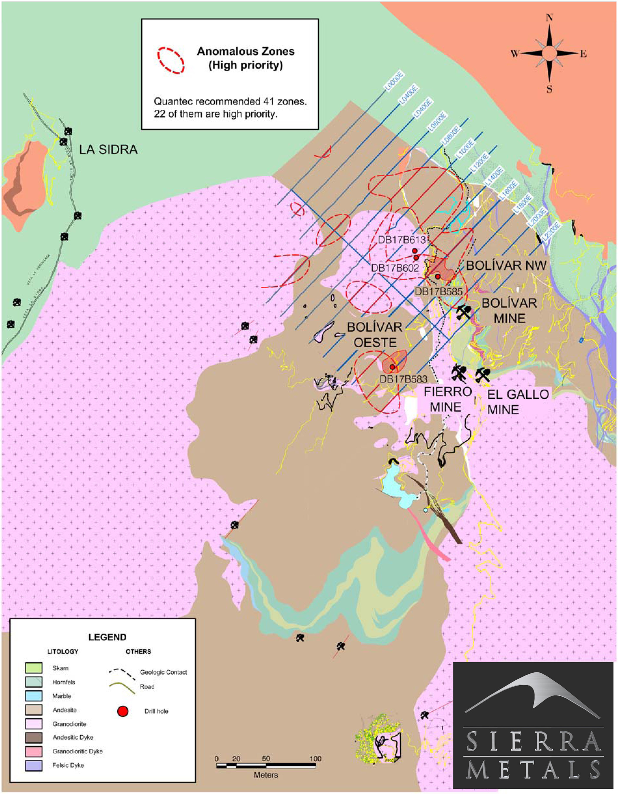 Figure 1. - Plan View – Bolivar Mine (Bolivar West and Northwest Zones) (CNW Group/Sierra Metals Inc.)