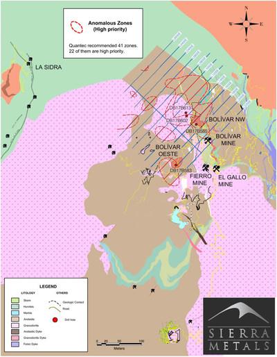 Figure 1. - Plan View – Bolivar Mine (Bolivar West and Northwest Zones) (CNW Group/Sierra Metals Inc.)
