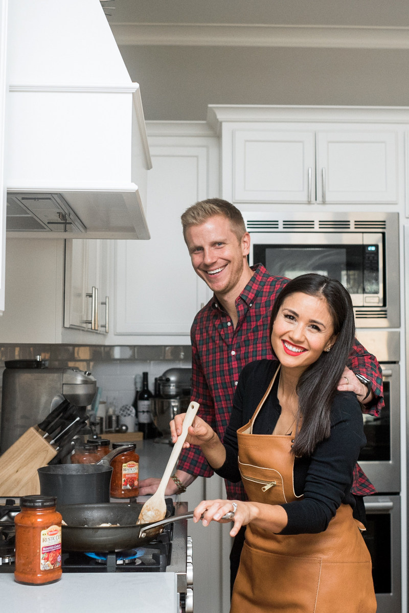 "Sean and Catherine Lowe of ""The Bachelor"" bring Tuscan flavor to life at home with their favorite pantry staples, the new line of Rustic Cut Pasta Sauces from Bertolli."
