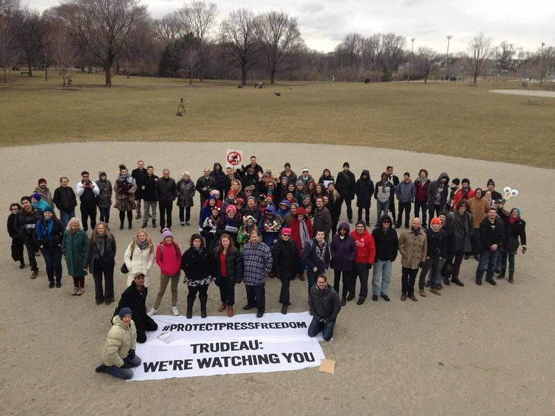 CJFE organized a National Day of Action on February 25, 2017 to demand that the government do more to protect press freedom and civil liberties. A core demand was the passage of Bill S-231, the Journalistic Sources Protection Act. (CNW Group/Canadian Journalists for Free Expression)