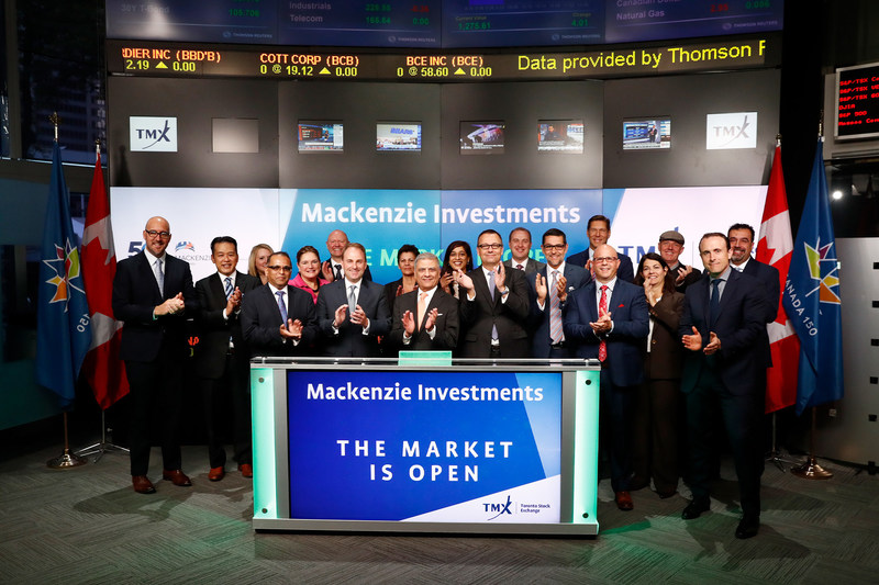 Tony Elavia, EVP and Chief Investment Officer, Mackenzie Investments, joined Nick Thadaney, President and CEO, Global Equity Capital Markets, TMX Group, to open the market to celebrate 50 years as an organization. Founded in 1967, Mackenzie Investments is an investment management firm providing investment advisory and related services through multiple distribution channels to both retail and institutional investors. Mackenzie Investments is a member of the IGM Financial Inc. group of companies. (CNW Group/TMX Group Limited)