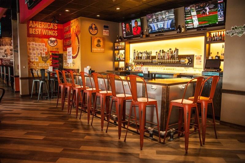 East Coast Wings + Grill's new interior at the Burlington, North Carolina location.