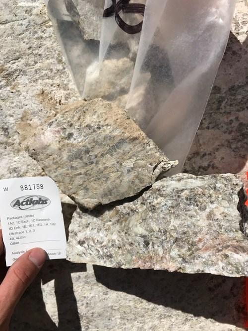 Grab sample from McVittie grading 2.01% Li2O (CNW Group/Rock Tech Lithium Inc.)