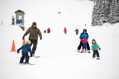 Family skiing at Showdown Montana