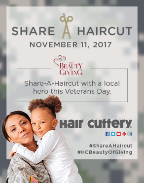 For every haircut purchased by Hair Cuttery patrons on Veterans Day, Saturday, Nov. 11, a free haircut certificate will be donated back to a veteran in the same community.