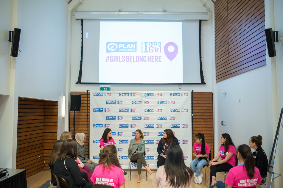 Plan International Canada Global Ambassador Sophie Grégoire Trudeau and Caroline Riseboro, President and CEO of Plan International Canada, engaged in an intimate discussion with a group of youth advocates on breaking barriers and developing solutions to achieve their aspirations. (CNW Group/Plan International Canada)