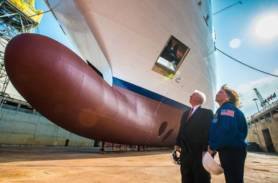 Viking Chairman Torstein Hagen and Dr. Anna Fisher, American chemist, emergency room physician, recently retired NASA astronaut and godmother to Viking Orion observe the company's fifth 930-guest ocean ship, which will debut in July 2018. Visit www.vikingruises.com for more information.