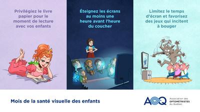 Temps d'écran - Dans le cadre du Mois de la santé visuelle des enfants, l'Association des optométristes du Québec émet ses recommandations à l'intention des familles (infographie: Association des optométristes du Québec). (Groupe CNW/Association des optométristes du Québec)