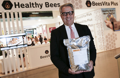 Lee Rosen, Chairman & CEO of Healthy Bees, LLC, maker of BeesVita Plus, holding 5Kg package of company's scientific breakthrough nutritional formula for honey bees who are dying as result of global colony loss epidemic, which was top issue discussed at 45th annual Apimondia International Apiculture Congress in Istanbul, Turkey