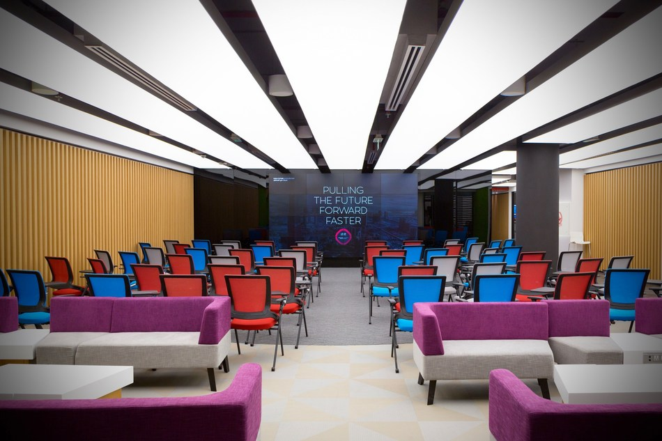 "The state-of-the-art working space of the Dubai Future Accelerators, located in the heart of Dubai, in Emirates Towers, just a few floors away from the Prime Ministers Office. ""Pulling The Future Forward Faster"" is the slogan of DFA. (PRNewsfoto/Dubai Future Accelerators)"