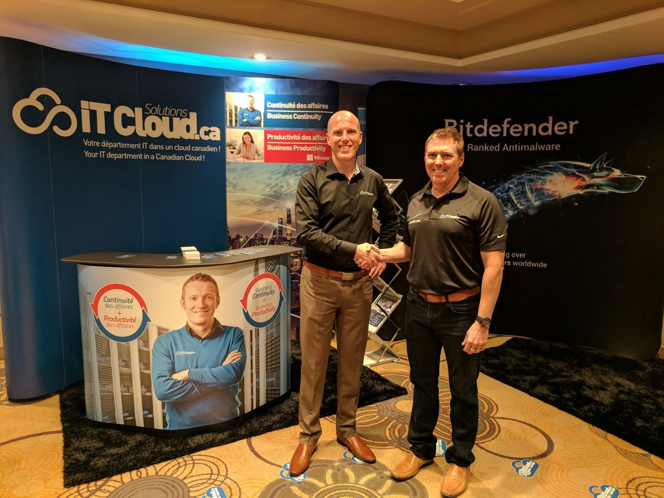 Left to right -David Latulippe (IT Cloud VP – Sales / Business Development) & Peter Nourse (Bitdefender - Business Development Worldwide Director ) (CNW Group/IT Cloud Solutions - Backup \ Synchronisation)