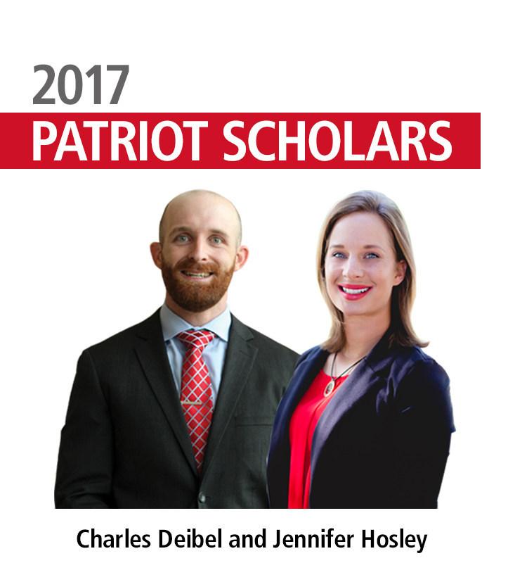2017 Patriot Scholarship recipients Charles Deibel and Jennifer Hosley.