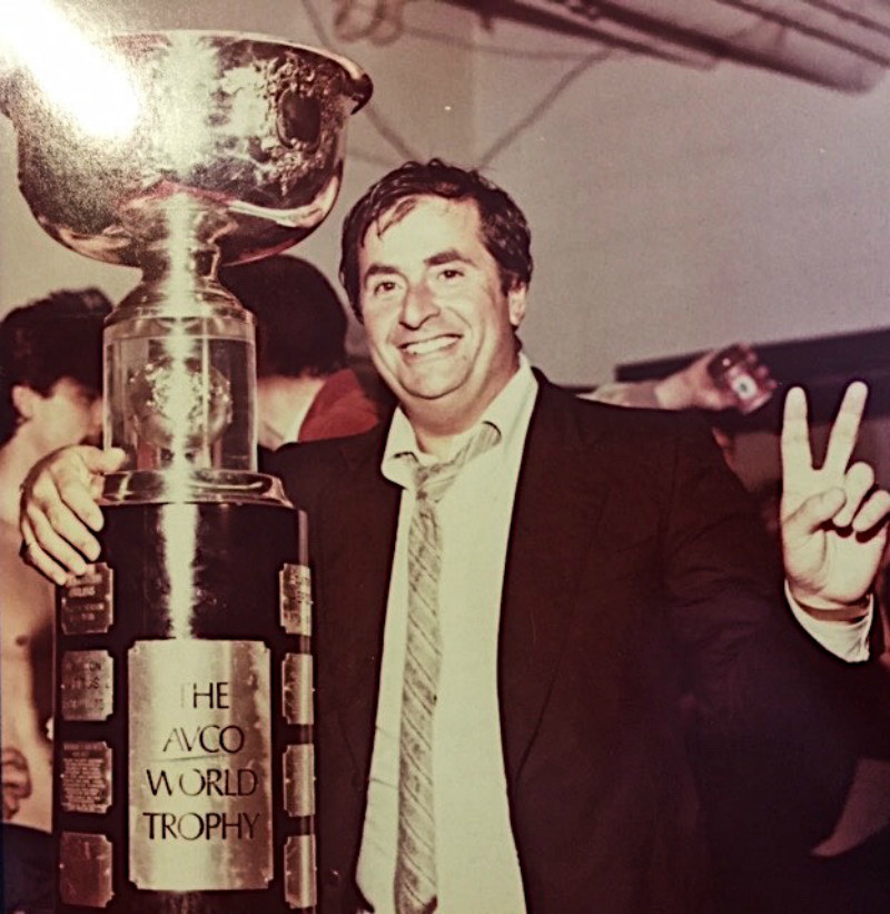 Michael Gobuty with the AVCO Cup after the Jets won the WHA championship in 1978. (CNW Group/Comunicano, Inc.)