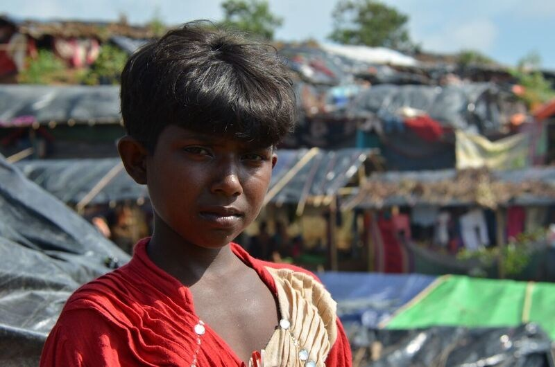 """""""In my dreams I see people running, crying, shouting and fighting and suddenly I get up in fear,"""" says 11-year old Somsida, currently living in a refugee camp with her family in Bangladesh after fleeing Myanmar. Photo/World Vision. (CNW Group/World Vision Canada)"""
